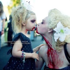 Zombie walk. Mother daughter costumes - No way Peyton would go for it anytime soon (considering she wants to be Doc Mcstuffins) But I can dream, right? :)