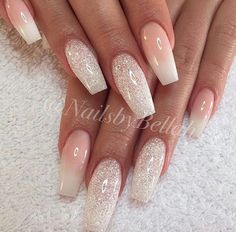 Super clen and simple would be great for a wedding french tip omber glitter nails #WeddingNails