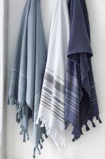 Ellos Home Badlakan Saray Vit, Dimblå, Mörkblå - Handdukar & badlakan | Ellos Mobile