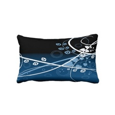 Blue and White Plant Pattern on a Black Background Lumbar Pillow         Produced by sustainably employed single moms in the USA