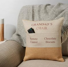 Personalised Pocket Cushion - Gift for Grandad