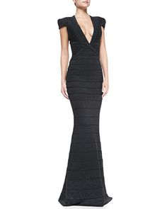 Herve Leger classic cap sleeve mermaid evening gown #black #dress