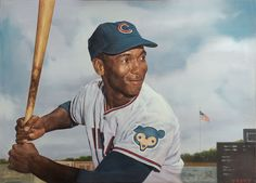 """Ernie Banks 36""""x26"""" oil on canvas painting by Ron Stark."""