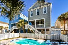 Las Palmas is a five-bedroom, five-and-a-half-bath second row beach house located in Surfside Beach, SC. #BeachRental #Ocean #EastCoast #Vacation #Beach #Pool #SurfsideBeach #SouthCarolina #GardenCityRealty Surfside Beach, Beach Pool, Pool Houses, Vacation Rentals, East Coast, The Row, Beach House, Ocean, Exterior