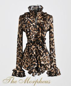 Leopard print ruffle collar shirt from Morpheus Boutique.