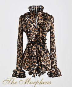 Leopard print ruffle collar shirt from Morpheus Boutique.