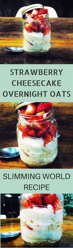 Strawberry - Cheesecake - Overnight - Oats - Slimming - World - Syn - Free - Healthy Extra B Slimming World Baked Oats, Slimming World Healthy Extras, Slimming World Breakfasts Free, Slimming World Cheesecake, Slimming World Biscuits, Slimming World Meal Prep, Slimming World Deserts, Slimming World Lunch Ideas, Skinny Cheesecake