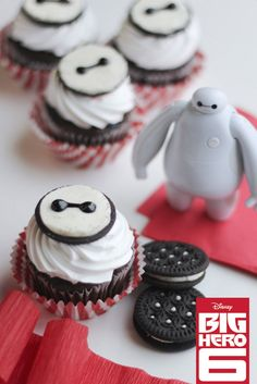 How to make Baymax cupcakes! Inspired by Big Hero 6 movie//Will try while watching this with my little cousin//