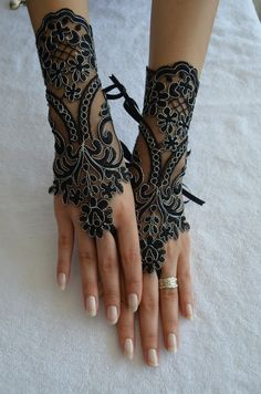 handmade lace gloves french bridal gloves black goth by newgloves