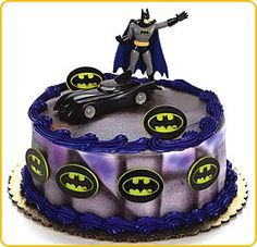 Cool Homemade Batman Birthday Cake with Batman Figurine Black