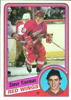 Steve Yzerman Topps 1984-85 Rookie Hockey Card - #49 Hockey Cards, Football Cards, Baseball Cards, Detroit Hockey, Hockey Shot, Steve Yzerman, Bruins Hockey, Love My Boys, Detroit Red Wings