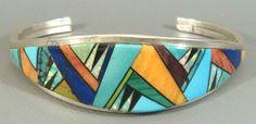 *SUE* Zuni Handcrafted Sterling Silver & Multi Stone Mosaic Inlay Cuff Bracelet #ZUNIOldPawn