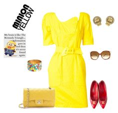 """minion yellow"" by natalyag ❤ liked on Polyvore featuring Chanel and Christian Dior"