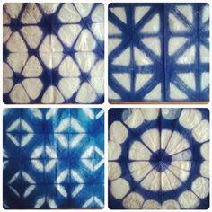 No photo description available. Shibori Fabric, Shibori Tie Dye, Fabric Art, Shibori Techniques, Tie Dye Techniques, Textiles, Nature Crafts, How To Dye Fabric, Tye Dye
