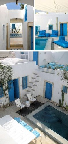 """Jerba, Tunisia. The Dar Bibine Bed and Breakfast. Rue Abdel Waheb 7, Djerba Erriadh. Tel: 216 94712482. Dar Bibine is a guest house ideally located in the heart of the preserved medina of Erriadh, a 20-minute drive from Houmt Beach. The perfect spot for a relaxing break! This is the town of """"Djerbahood"""" the world's largest permanent street art project - displaying over 250 works."""