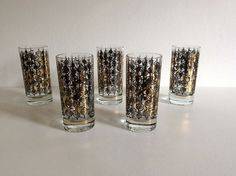 Vintage Tumbler Glasses Set  1960's Barware by DioVintageShop