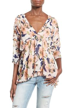 J.O.A. Floral Print Peasant Top available at #Nordstrom