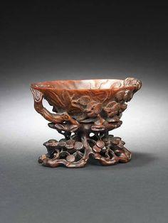 A rhinoceros horn libation cup, 17th-18th century.photo Bonhams