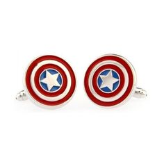 Captain America Cufflinks + Free Box & Cleaner ($18) ❤ liked on Polyvore featuring home, home improvement, cleaning, earrings and marvel