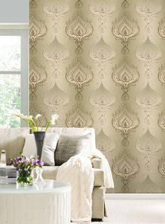 #wallpapersilver, #wallpapermetallic, #kainternatioanl Metallic, Curtains, Wallpaper, Design, Home Decor, Blinds, Decoration Home, Room Decor, Wallpapers