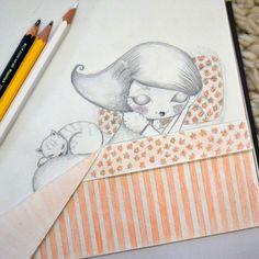 Esto es lo que pasa cuando me quedo a trabajar de noche ...... Los dibujos deciden quedarse a dormir en mi libreta.