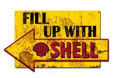 Fill Up Shell Arrow Grunge Style 29 x 17 Powder Coated Metal Advertising Sign Vintage Reproduction Gas Oil Garage Art Wall Decor by HomeDecorGarageArt on Etsy Garage Art, Garage Signs, Shell Gas Station, Royal Dutch Shell, Standard Oil, Vintage Metal Signs, Advertising Signs, Grunge Fashion, Retro