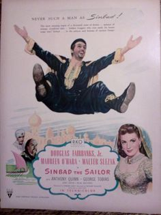 Vintage Sinbad the Sailor   Original Movie Advertisment by Inkart, $3.00