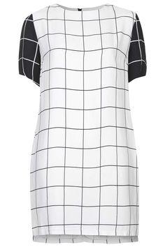 Monochrome Grid Print Tunic Dress