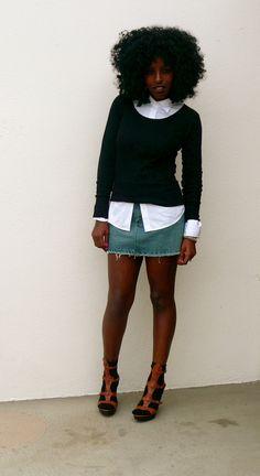 denim skirt + button down + sweater