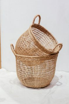 Set of 2 floppy Seagrass Baskets, natural weave basket, Handicraft Vietnam, Storage Basket woven basket Decor Storage Basket HolderContainer Sisal, Grocery Basket, Seagrass Storage Baskets, Large Baskets, Large Woven Basket, Woven Baskets, Picnic Baskets, Belly Basket, Natural Weave