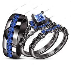 14K Black Gold Finish Princess & Round Blue Sapphire Bride & Groom Trio Ring Set