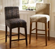 Awesome Seagrass Bar Stools For Dining Chair Deisgn: Seagrass Bar Stools Honey Color A Pair With Wooden Floor And White Wall Paneling Plus Glass Window