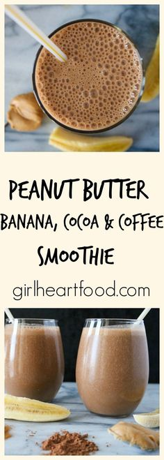 Peanut Butter Banana Cocoa and Coffee Smoothie &; Peanut Butter Banana Cocoa and Coffee Smoothie &; Apple Smoothies, Breakfast Smoothies, Healthy Smoothies, Healthy Drinks, Detox Breakfast, Smoothie Detox Plan, Smoothie Drinks, Post Workout Smoothie, Chocolate Peanut Butter Smoothie