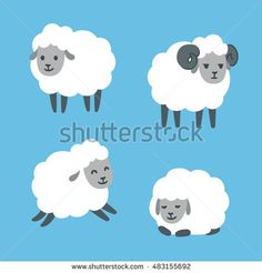 Good Cute cartoon sheep set Standing jumping and lying Male ram with horns