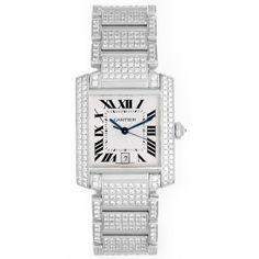 Cartier Pave Diamond Tank Francaise 18k White Gold Men's or Ladies Watch - Automatic winding - Cartier - Brands | Portero Luxury
