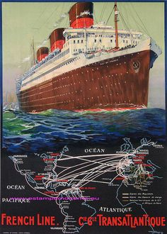 Albert Sebille Cgt French Line Cie Transatlantique 64X90 Crete Corbeil | Flickr - Photo Sharing!