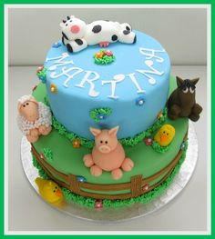 Birthday cake farm animals Party Themes, Party Ideas, Farm Theme, Farm Animals, Cake Ideas, Fondant, Birthday Cake, Cakes, Desserts