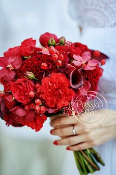 "Bride's Exquisite ""All Red"" Bouquet Comprised Of: English Garden Spray Roses, Carnations, Coxcomb (Celosia), Calla Lilies, Orchids, Hypericum Berries"