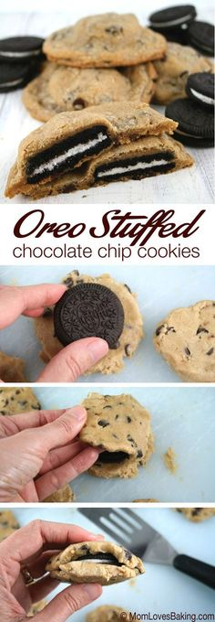 Cookies Oreo, Cookie Desserts, Just Desserts, Chocolate Chip Cookies, Cookie Recipes, Delicious Desserts, Dessert Recipes, Yummy Food, Chocolate Chips