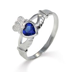 Sterling Silver Sapphire CZ Claddagh Ring $28