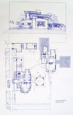 Frank Lloyd Wright - Fricke House Blueprint by BlueprintPlace on Etsy Architecture Drawings, Architecture Plan, Amazing Architecture, Falling Water Frank Lloyd Wright, Frank Lloyd Wright Homes, Falling Water House, Vintage House Plans, Famous Architects, House Blueprints