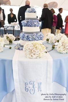 cake w/hydrangea layers + monogram table runner