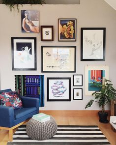 The great thing about a gallery wall is displaying art in one place for a big impact. The worst thing about a gallery wall is that I need more art! Tips and tricks to hang your own gallery style art collection coming soon. Tap once for artist detail. #caseworkit