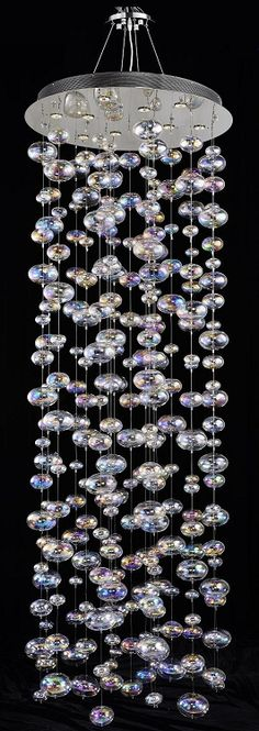 """Bubbles Design 10-Light 94"""" Polished Chrome Entryway Chandelier Pendant with Rainbow Clear Glass"""