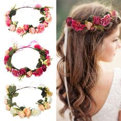 M MISM Bride Women Flower Crown Hair Band Wedding Floral Headband Garland Ribbon Bow Girl Flower Wreath Elastic Hair Accessories Flower Crown Hairstyle, Flower Hair Band, Crown Hairstyles, Hair Bands, Wedding Headband, Bridal Crown, Headband Veil, Garland Wedding, Bridesmaid Hair Accessories