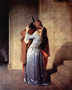 The Kiss by Francesco Hayez; an Italian painter, the leading artist of Romanticism in mid-19th-century Milan. This painting was considered among his best work by contemporaries. The anonymous, unaffected gesture of the couple does not require knowledge of myth or literature to interpret, and appeals to a modern gaze.