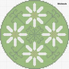 Cross-stitch Daisies Biscornu ... no color chart available, just use pattern chart as your color guide.. or choose your own colors...     Stickeules Freebies: Frühling
