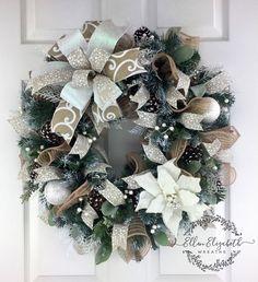 Winter Wreaths for front door, Winter Evergreen Wreath, White Winter Wreath, White Poinsettia Wreath, Winter Wreath, Rustic Winter Wreath by EllenElizabethWreath on Etsy #winterwreath #christmaswreaths #ChristmasWreath #christmasdecor #christmas,
