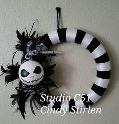 Jack skellington wreath made for Melissa Ramirez CA .