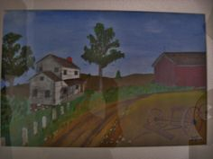 Country Lane- painted by my Dad, Russell Elvidge  (sorry about glass glare)